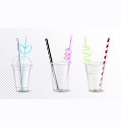 plastic glasses set vector image