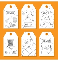 Printable tags in a retro style Hand-drawn Sewing vector