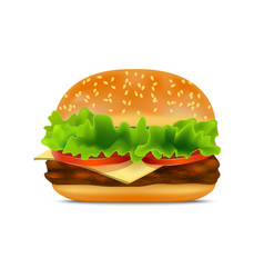 realistic detailed fast food burger vector image