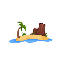 sandy tropical island with palm tree and mountain vector image