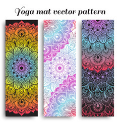 set of colorful yoga mat pattern vector image