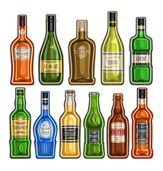 set of different bottles vector image