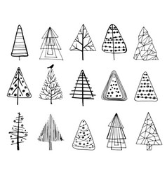 Set of doodle christmas trees vector