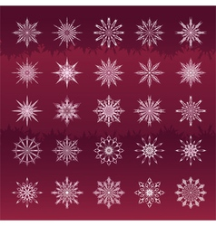 Set of snowflakes vinous background vector image