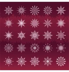 Set of snowflakes vinous background vector