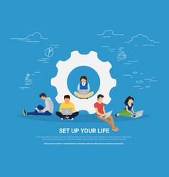 Set up your life concept of business vector