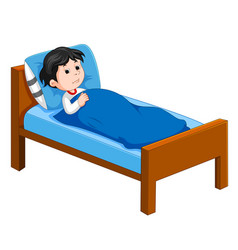 sick kid lying in bed vector image