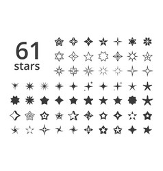 stars icons various shapes large set vector image