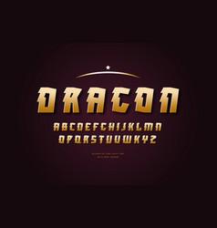 stock golden colored sans serif font vector image