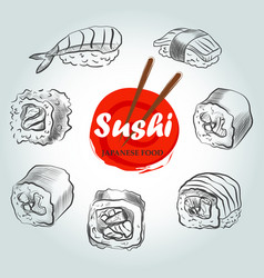 Sushi menu sketch cover clip art vector