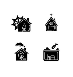 Temporary supportive housing black glyph icons vector