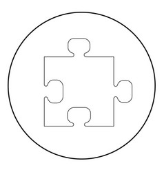 the puzzle the black color icon in circle or round vector image