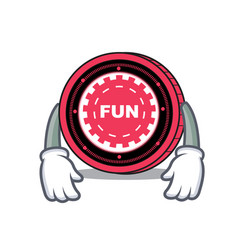 Tired funfair coin mascot cartoon vector