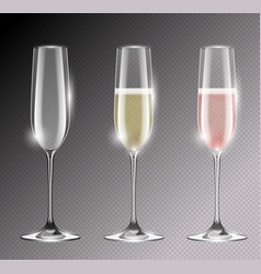 transparent champagne glass flute vector image