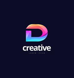 Vibrant trendy colorful creative letter d logo vector