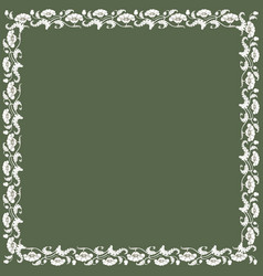 Vintage square frame with white tulips vector