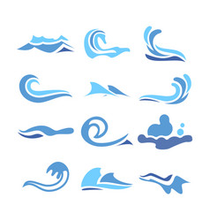 wave water icon set flowing water elements vector image