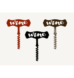 Wine logo Corkscrew icon or symbol vector image
