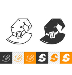 witch hat halloween simple black line icon vector image