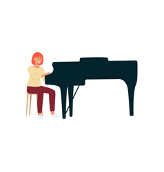 Woman sitting and playing a black grand piano vector