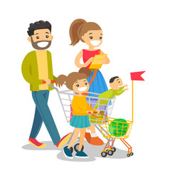 Young caucasian white family with kids shopping vector