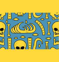 bones seamless pattern skeleton background skull vector image