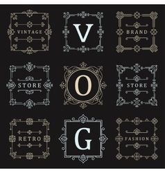 Set Logos and Ornament vector image vector image