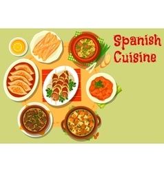 Spanish cuisine rich meat dishes icon vector image vector image