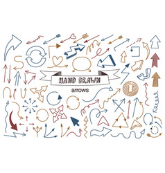unique collection of hand drawn arrows vector image vector image