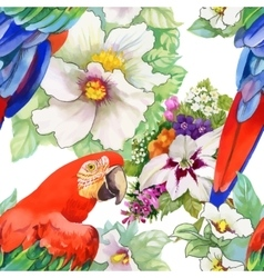 Watercolor seamless pattern with parrots and white vector image