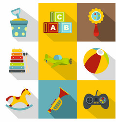 children toys icon set flat style vector image