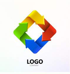 colorful arrows in form of rectangle logo company vector image