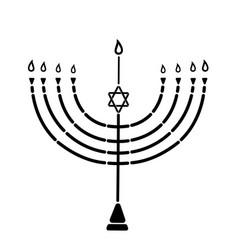 the menorah with the star of david is a symbol of vector image