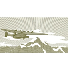 woodcut clipper scene vector image vector image