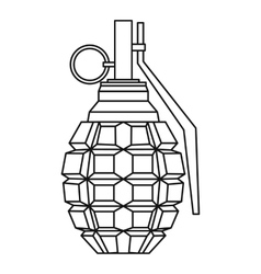Hand grenade bomb explosion icon outline style vector image