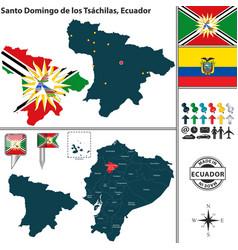 map of santo domingo de los tsachilas ecuador vector image vector image