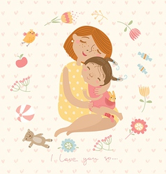 Mom and daughter vector image vector image