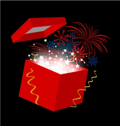New year gift box on black background vector image