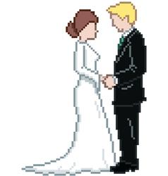 Pixel Wedding Couple vector image vector image