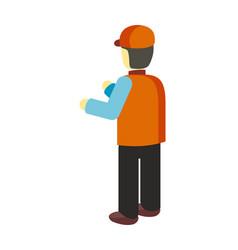 worker in uniform in flat design vector image vector image