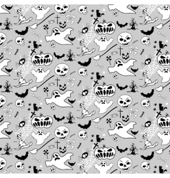 halloween doodle pattern bw vector image