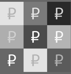 ruble sign grayscale version of popart vector image vector image