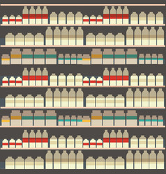 Seamless pattern of dairy department milk shelf vector