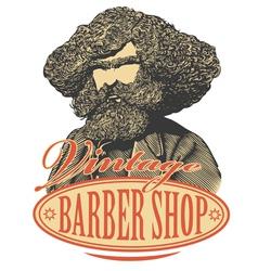 Vintage barber shop logo vector image