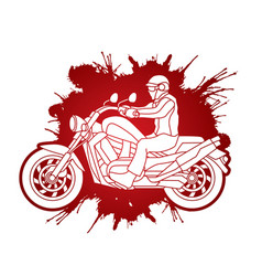 A man riding motorbike vector