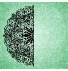 Abstract green background with black lacy mandala vector
