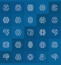 Ai smart brain linear icons brain vector