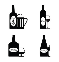 alcohol drinks icon set vector image