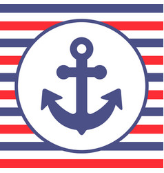 anchor card with blue and red stripes vector image