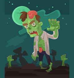 Angry hungry zombie men character walking vector